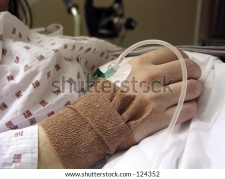 Closeup of a IV/Drip in a patients hand