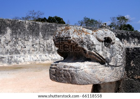 Closeup of a Jaguar head sculpture at the Great ball court in the Mayan city of Chichen Itza in Mexico