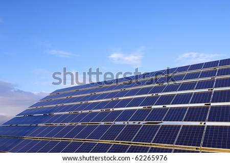 closeup of a large photovoltaic panel for electric power production