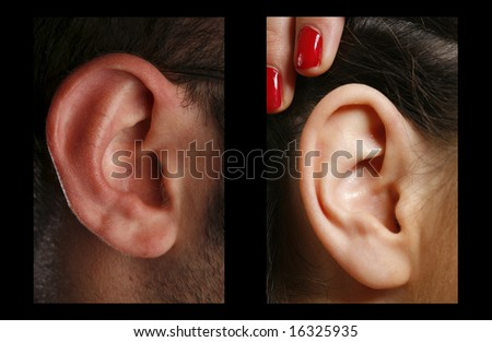 closeup of a man and woman ear in color