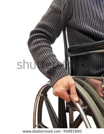 closeup of a man in a wheelchair