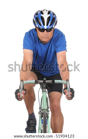 Closeup of a man on a road bike isolated on white. Head on shot in vertical format showing only top half of bike.