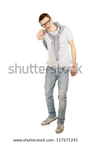 Closeup of a man pointing at you, isolated on white background
