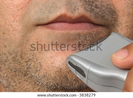 Closeup of a man's shaving session