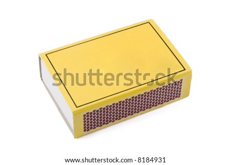 Closeup of a matchbox isolated on a white background with copyspace