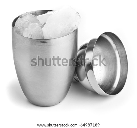 closeup of a metal shaker on a white background