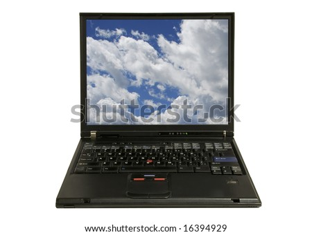 closeup of a modern laptop computer displaying clouds