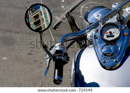 Closeup of a motorcycle's instrument cluster.