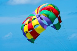 closeup of a multicoloured colourful parasailing parachute opened up against a blue sky