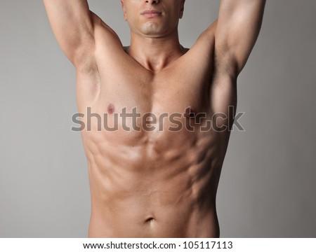 Closeup of a muscular man's chest