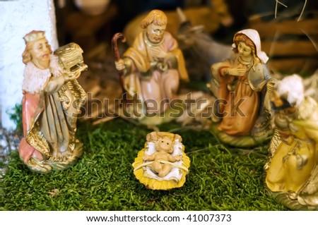 Closeup of a Nativity Scene