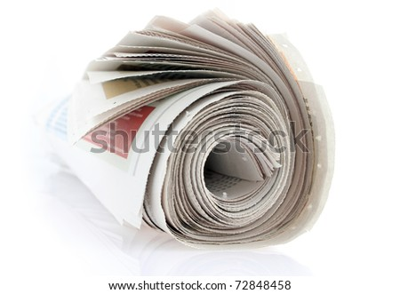 closeup of a newspaper roll on white