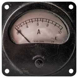 Closeup of a old analog ammeter for 10 ampere of direct current, isolated on white.