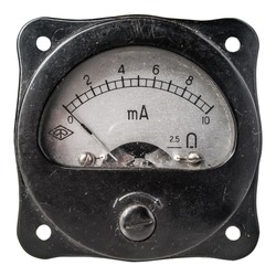 Closeup of a old analog milliammeter for 10 milliampere of direct current, isolated on white.