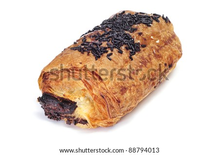 closeup of a pain au chocolat  on a white background
