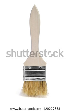 closeup of a paintbrush on a white background