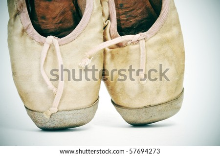 closeup of a pair of old pointe shoes