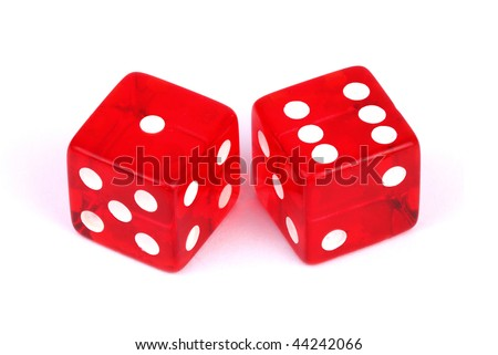 Closeup of a pair of red dices over white background