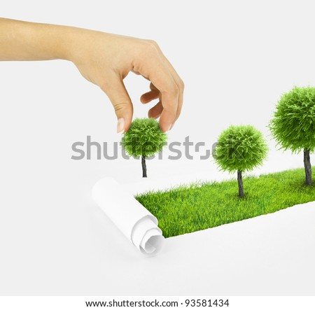 Closeup of a paper hole on grass background with tree. Hand plant small tree