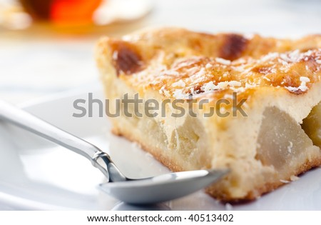 Closeup of a piece of an apple pie, shallow focus