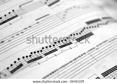 Closeup of a piece of music score (shallow DOF)