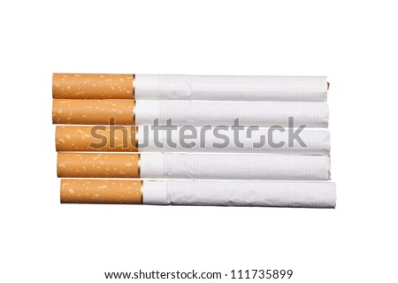 Closeup of a pile of cigarettes isolated on white background