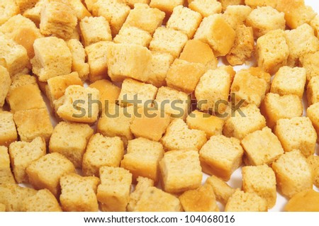 closeup of a pile of croutons