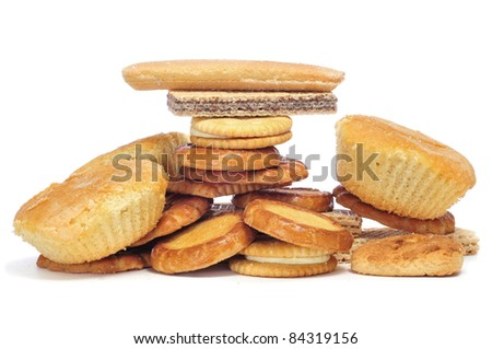 closeup of a pile of  different biscuits