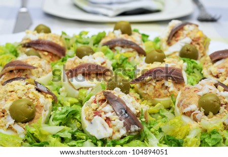 closeup of a plate with stuffed eggs