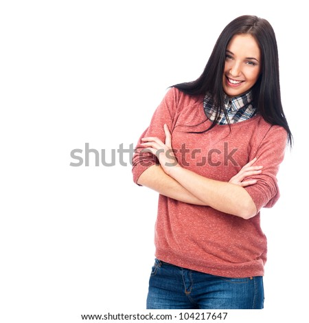 Closeup of a pretty young caucasian woman with a wide smile isolated on white background