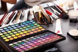 Closeup of a professional makeup kit