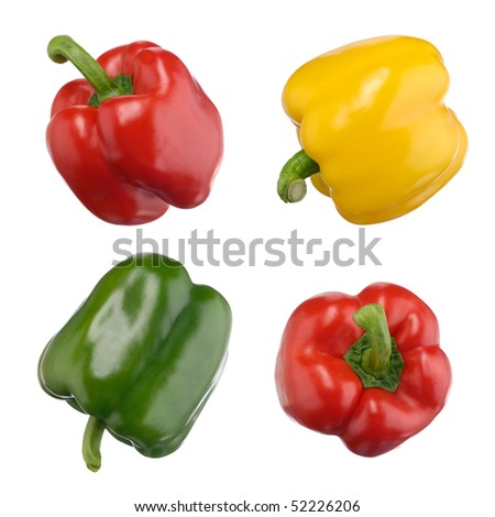 Closeup of a red, green, yellow sweet peppers isolated on white background - stock photo