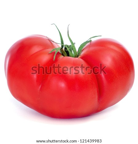closeup of a red ripe tomato on a white background