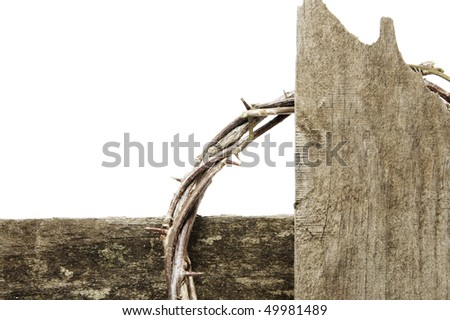 closeup of a representation of the crown of thorns and the cross of Jesus Christ