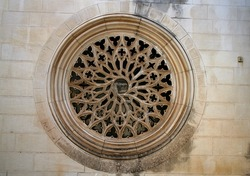 Closeup of a Rose Window Church.
