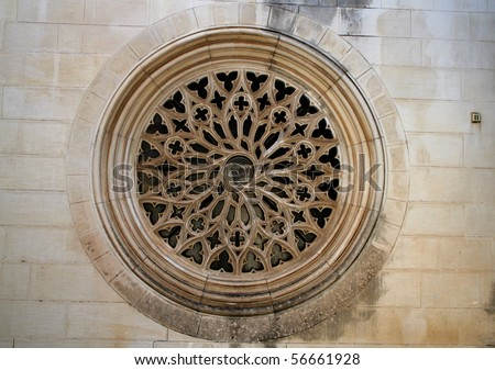 Closeup of a Rose Window Church. - stock photo