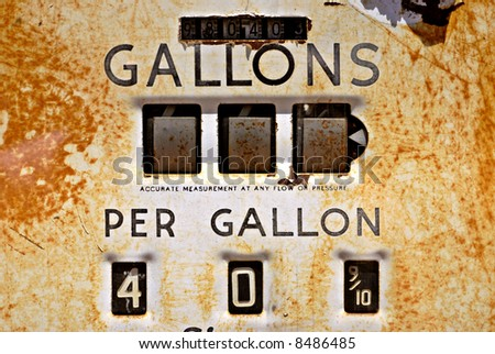Closeup of a rusty old gas pump from the 1940s