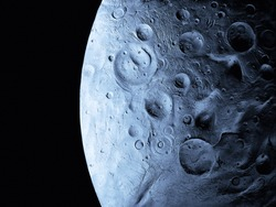 Closeup of a satellite surface in the solar system. Craters and reliefs on the moon's surface.