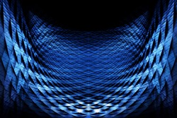Closeup of a scaly parabolic metal grid. Abstract scientific, technological or industrial background in black and blue colors. Futuristic architecture or applied geometry background.
