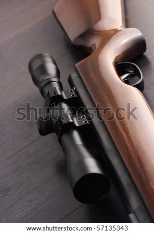 closeup of a scope mounted on a rifle