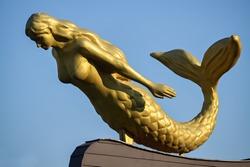 Closeup of a sculpture of mermaid in Skopje - the capital city of Macedonia