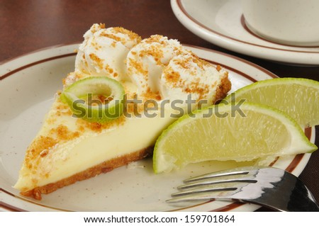 Closeup of a slice of key lime pie