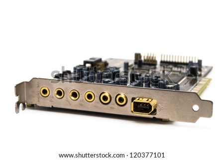 Closeup of a sound card isolated on white