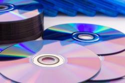 Closeup of a stack compact discs (CD/DVD)