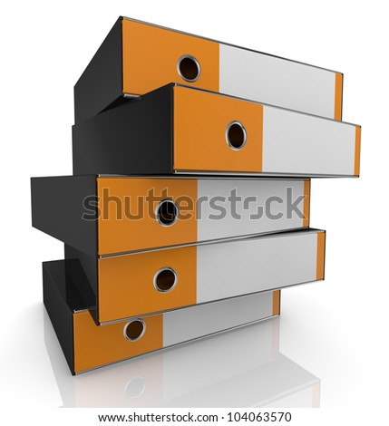 closeup of a stack of office folders (3d render)
