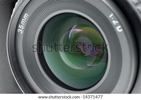 Closeup of a standard SLR camera lens