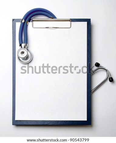Closeup of a stethoscope on a rx prescription isolated on white background