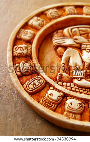 closeup of a stone carved Mayan calendar