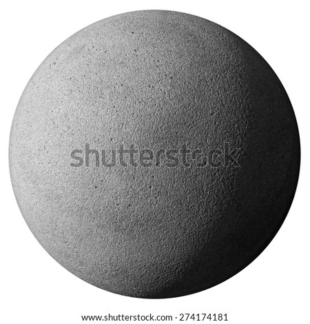 closeup of a stone sphere isolated on white with clipping path #274174181