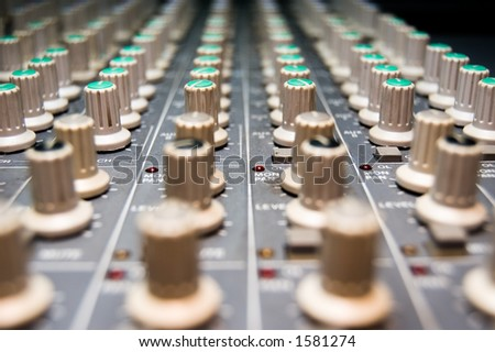closeup of a studio mixer